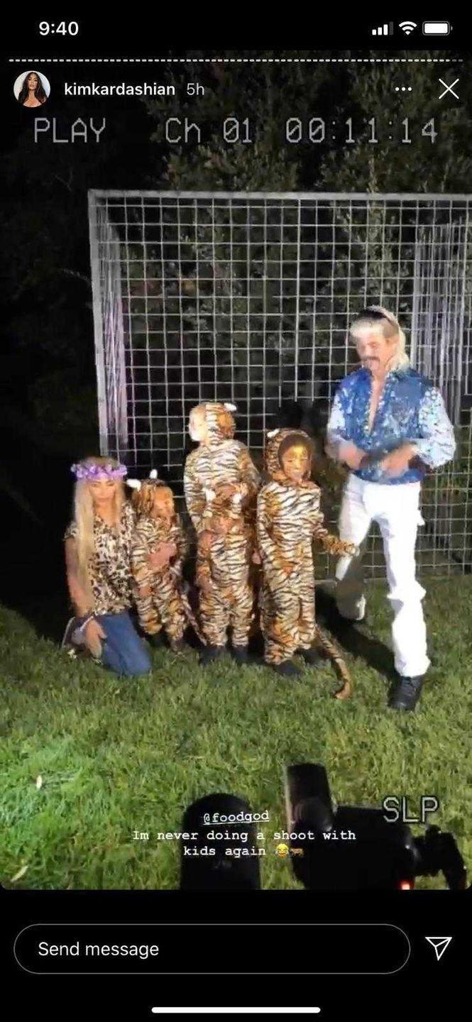 <p>The mum of four completed her wild Halloween costume with friend Jonathan Cheban dressed as Baskin's arch nemesis, Joe Exotic and her children adorably dressed as a pack of tigers. </p>