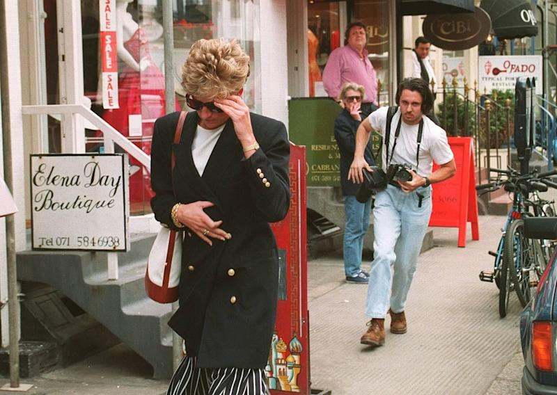 Princess Diana trying to avoid a photographer in Knightsbridge (Photo: Rex Features )