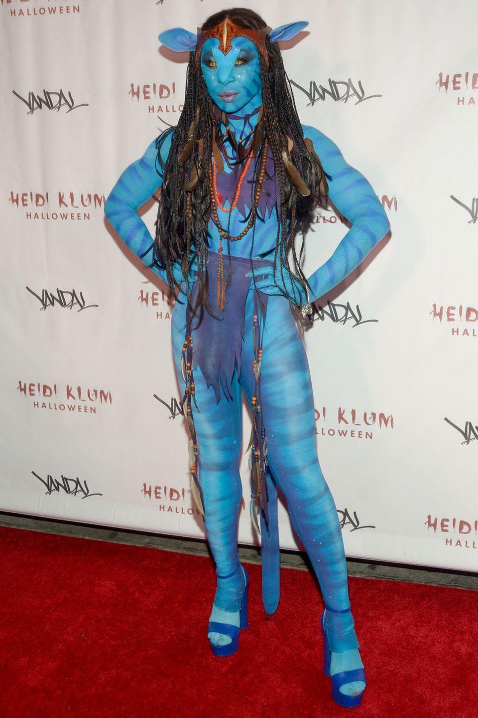 <p>Cynthia Erivo went full Na'vi for Heidi Klum's 17th Annual Halloween Party in 2016.</p>