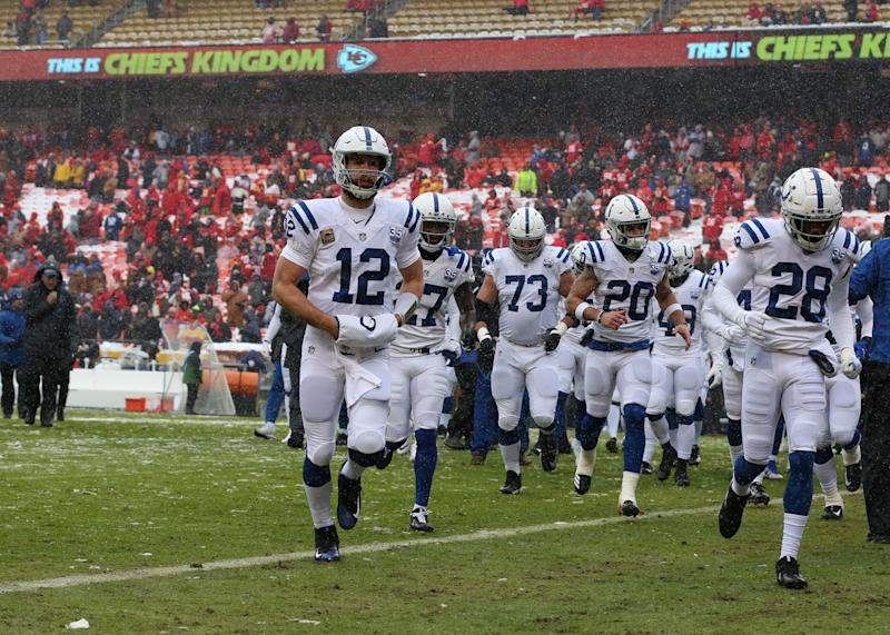 KANSAS CITY, MO - JANUARY 12: Indianapolis Colts quarterback Andrew Luck (12) runs off the field after warmups in an AFC Divisional Round playoff game game between the Indianapolis Colts and Kansas City Chiefs on January 12, 2019 at Arrowhead Stadium in Kansas City, MO. (Photo by Scott Winters/Icon Sportswire via Getty Images)