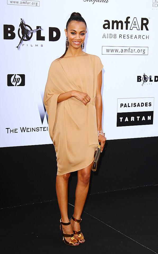 """Star Trek's"" Zoe Saldana kept things super simple in a nude frock and copper accessories. Mike Marsland/<a href=""http://www.wireimage.com"" target=""new"">WireImage.com</a> - May 21, 2009"