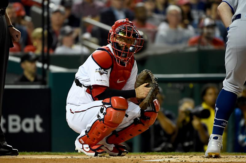WASHINGTON, DC - OCTOBER 06: Kurt Suzuki #28 of the Washington Nationals looks on against the Los Angeles Dodgers in game three of the National League Division Series at Nationals Park on October 6, 2019 in Washington, DC. (Photo by Will Newton/Getty Images)