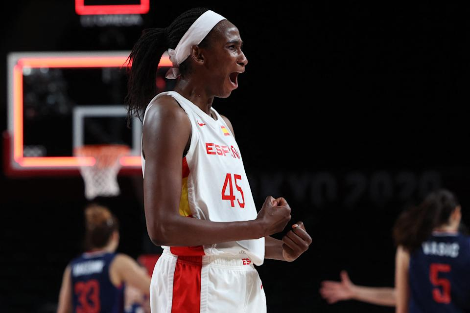 Spain's Astou Ndour celebrates after the women's preliminary round group A basketball match between Spain and Serbia during the Tokyo 2020 Olympic Games at the Saitama Super Arena in Saitama on July 29, 2021. (Photo by Thomas COEX / AFP) (Photo by THOMAS COEX/AFP via Getty Images)