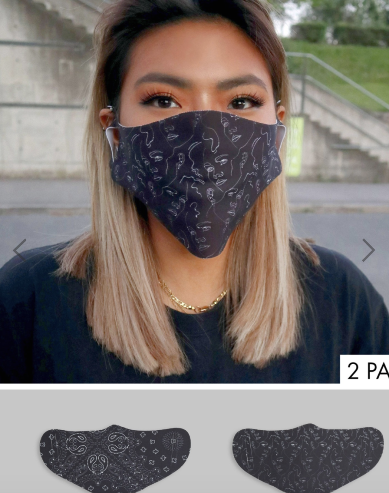 ASOS DESIGN unisex 2 pack face-covering in bandana and linear print, US$19. PHOTO: ASOS