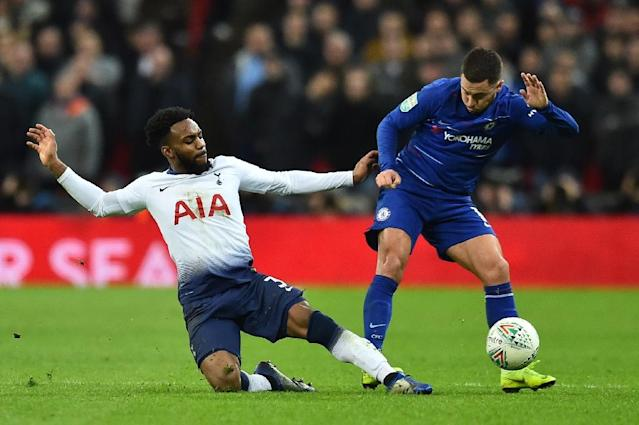 Tottenham crowded out Chelsea star Eden Hazard during their League Cup semi-final first leg victory (AFP Photo/Glyn KIRK )