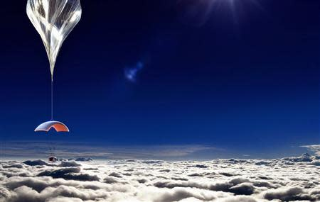 An artist rendering from World View Enterprises, Inc. released on October 22, 2013, shows a six-passenger, two-pilot pressurized capsule in a near-space balloon-launched ride that is being designed to fly in Earth's stratosphere, about 19 miles (30 kim) above the planet's surface. REUTERS/World View Enterprises, Inc./Handout via Reuters