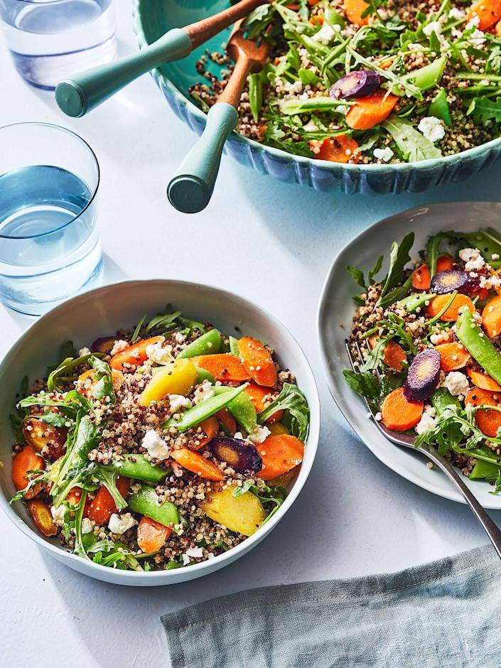 """<p><strong>Recipe: </strong><a href=""""https://www.southernliving.com/recipes/quinoa-salad-with-carrots-sugar-snap-peas"""" rel=""""nofollow noopener"""" target=""""_blank"""" data-ylk=""""slk:Quinoa Salad with Carrots and Sugar Snap Peas"""" class=""""link rapid-noclick-resp""""><strong>Quinoa Salad with Carrots and Sugar Snap Peas</strong></a></p> <p>This simple 20-minute recipe makes a fabulous dinner or leftover lunch for the next day. Feel free to add chicken, shrimp, salmon, or steak for a boost in protein.</p>"""
