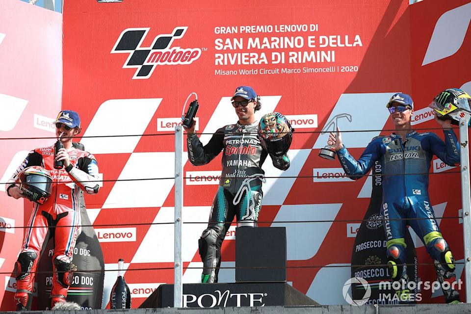 "Podio: 1º Franco Morbidelli, Petronas Yamaha SRT, 2º Francesco Bagnaia, Pramac Racing, 3º Joan Mir, Team Suzuki MotoGP<span class=""copyright"">Gold and Goose / Motorsport Images</span>"