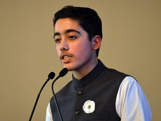 Ahmad Nawaz speaks at an event a year after attack: AFP via Getty Images