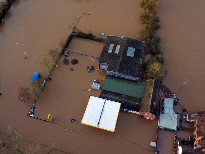 Flood water surrounds Upton upon Severn, in Worcestershire, 18 February, 2020: PA