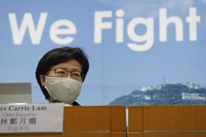 Hong Kong Chief Executive Carrie Lam speaks during a press conference in Hong Kong, Friday, July 31, 2020. She announced to postpone legislative elections scheduled for Sept. 6, citing a worsening coronavirus outbreak. (AP Photo/Kin Cheung)