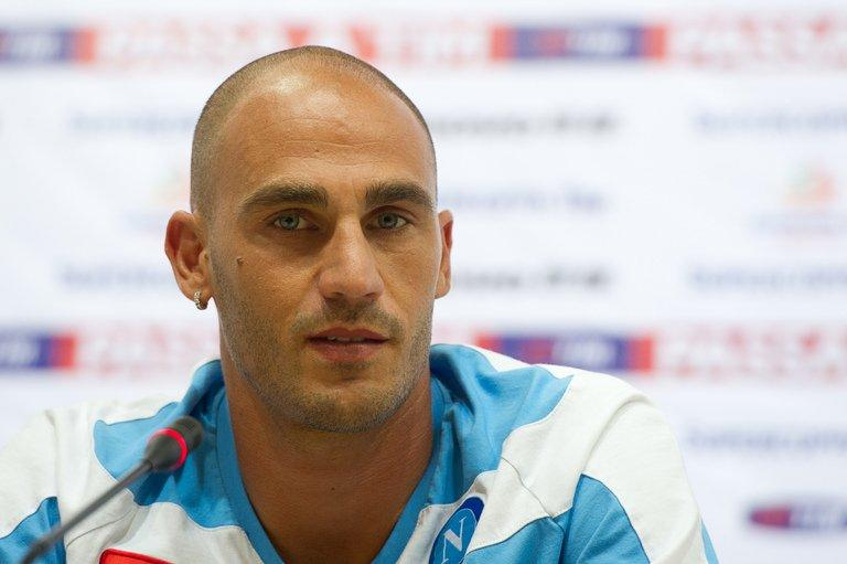 Paolo Cannavaro of SSC Napoli attends a press conference in Beijing on August 9, 2012
