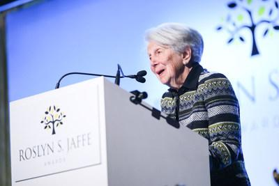 Mrs. Jaffe speaks at the 2018 Roslyn S. Jaffe Awards. Photo credit: BFA/Angela Pham