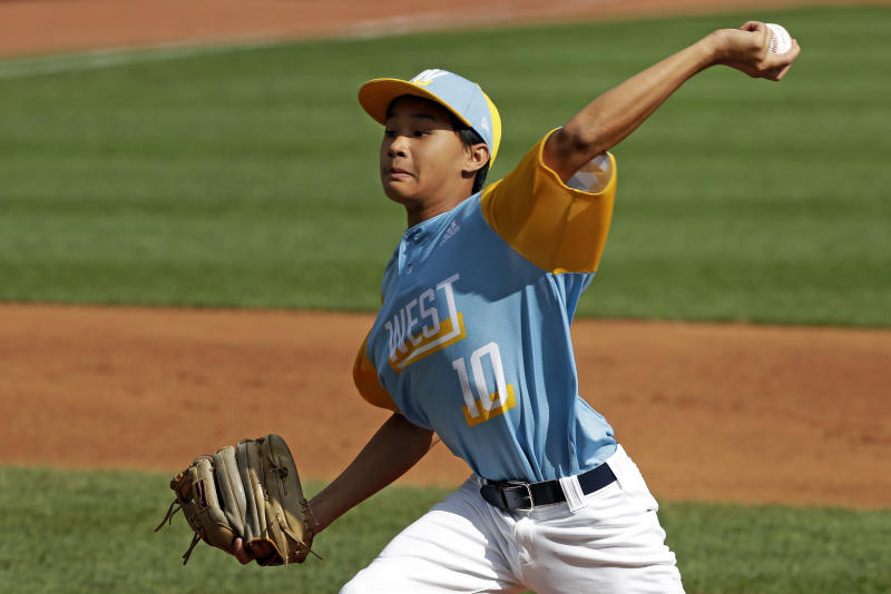 Wailuku, Hawaii's Logan Kuloloia delivers during the second inning of the United State Championship baseball game against River Ridge, Louisiana, at the Little League World Series tournament in South Williamsport, Pa., Saturday, Aug. 24, 2019. (AP Photo/Gene J. Puskar)