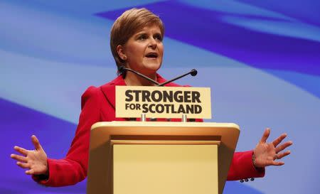 Scotland's First Minister and leader of the Scottish National Party, Nicola Sturgeon, addresses the party's annual conference in Glasgow, Scotland