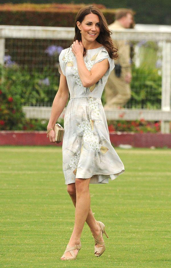 <p>In a Jenny Packham dress and L. K. Bennett shoes at a match at the Santa Barbara Polo and Racquet Club</p>