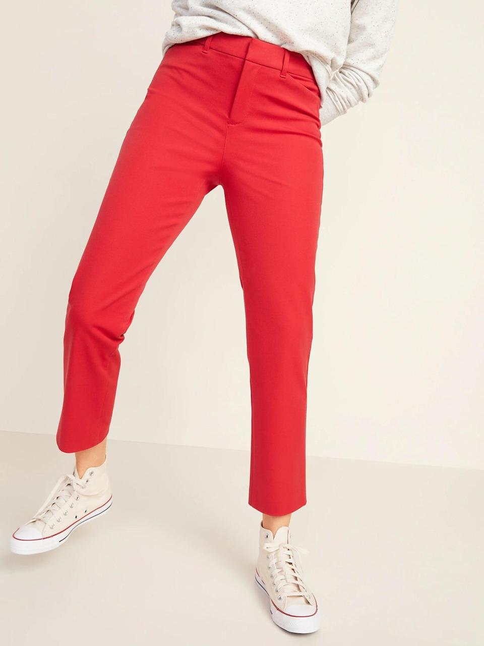 <p>Really stand out these season (like the most boldly colored leaves), thanks to a pair of <span>Old Navy High-Waisted Pixie Straight-Leg Ankle Pants</span> ($35, originally $40).</p>