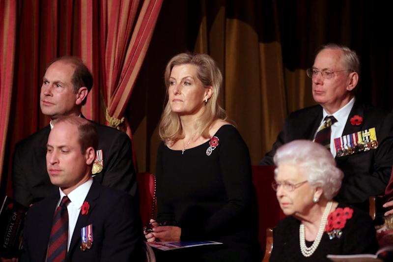 LONDON, ENGLAND - NOVEMBER 09: Queen Elizabeth II (R), with (L-R) Prince Edward, Earl of Wessex, Prince William, Duke of Cambridge, Sophie, Countess of Wessex attend the annual Royal British Legion Festival of Remembrance at the Royal Albert Hall on November 09, 2019 in London, England. (Photo by Chris Jackson/- WPA Pool/Getty Images)