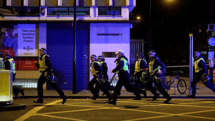 <p>Police attend to an incident on London Bridge in London, Britain, June 3, 2017. (Reuters/Hannah McKay </p>