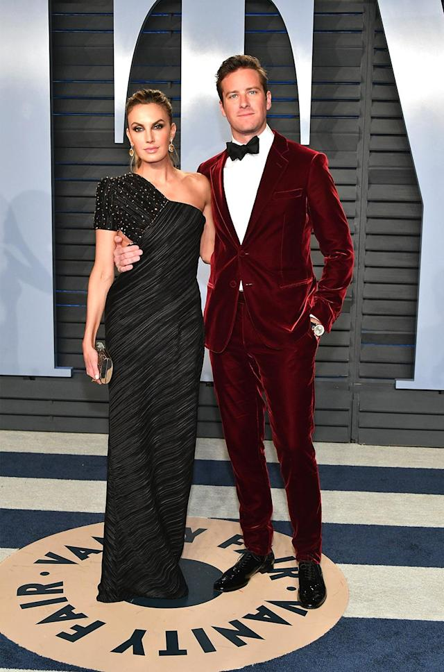 <p>A last-minute stomach bug almost prevented the <em>Call Me by Your Name</em> star from slpping on his oxblood velvet Giorgio Armani tux and joining his wife on the <em>Vanity Fair</em> red carpet. (Photo: Dia Dipasupil/Getty Images) </p>