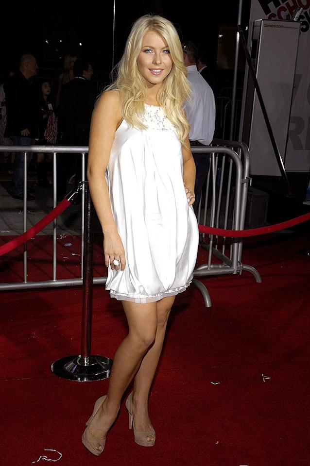 """Dancing With the Stars'"" ballroom babe Julianne Hough keeps it simple yet chic in a short white cocktail dress and nude heels. Toby Canham/<a href=""http://www.gettyimages.com/"" target=""new"">GettyImages.com</a> - October 16, 2008"