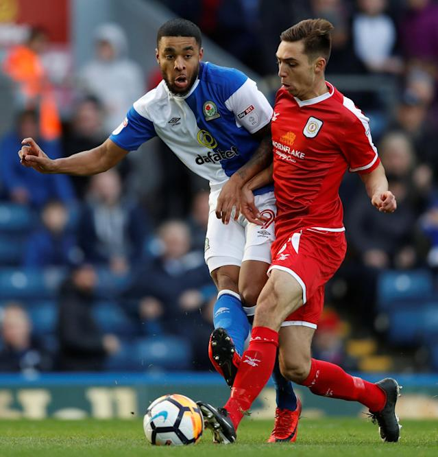 Soccer Football - FA Cup Second Round - Blackburn Rovers vs Crewe Alexandra - Ewood Park, Blackburn, Britain - December 3, 2017 Blackburn's Dominic Samuel in action with Crewe's Harry Pickering Action Images/Carl Recine