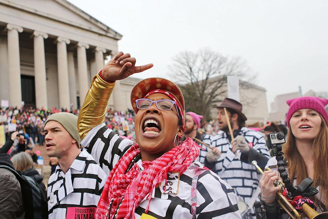 A woman chants while attending the Women's March on Washington in Washington, Jan. 21, 2017. (Photo: Mario Tama/Getty Images)