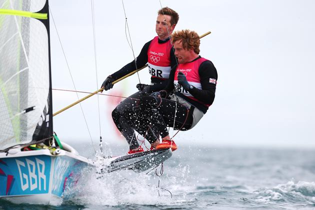 WEYMOUTH, ENGLAND - AUGUST 06:  Stevie Morrison and Ben Rhodes of Great Britain compete in the Men's 49er Sailing on Day 10 of the London 2012 Olympic Games at the Weymouth & Portland Venue at Weymouth Harbour on August 6, 2012 in Weymouth, England.  (Photo by Clive Mason/Getty Images)