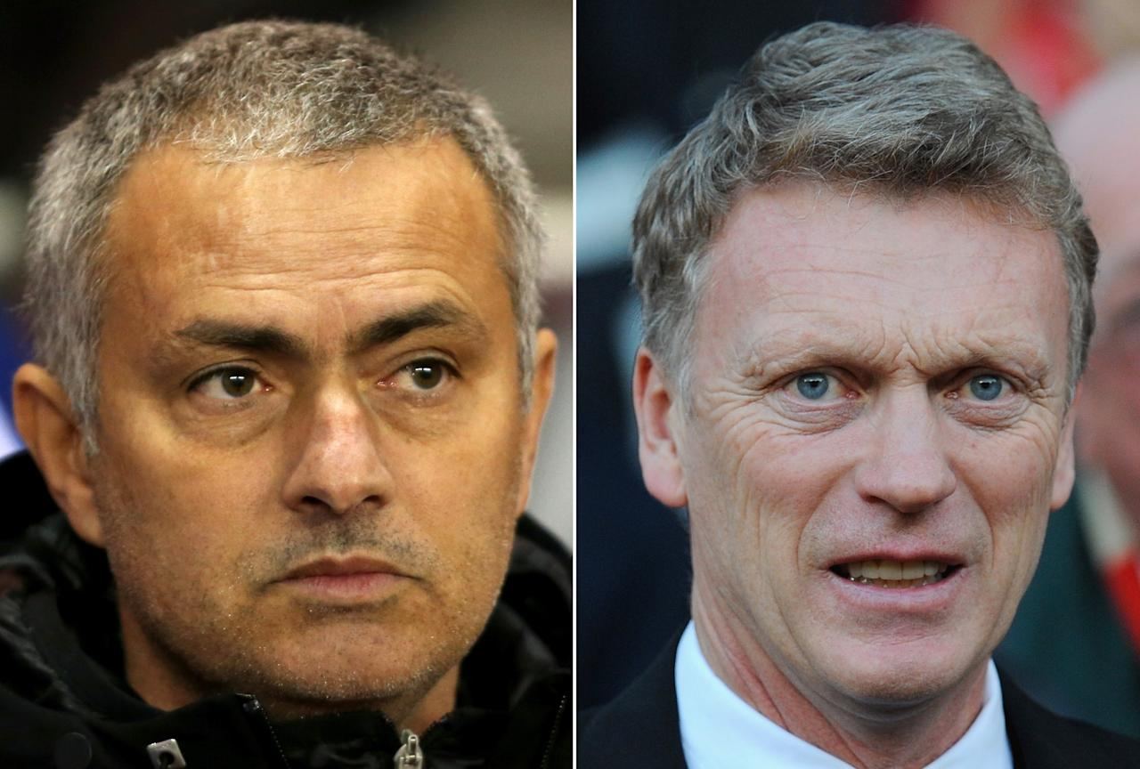 FILE PHOTO - EDITORS NOTE: COMPOSITE OF TWO IMAGES - Image Numbers 457440753 (L) and 458764923) In this composite image a comparison has been made between Jose Mourinho, Manager of Chelsea (L) and David Moyes, Manager of Manchester United. Chelsea and Manchester United meet at Stamford Bridge, London on January 19, 2014. ***LEFT IMAGE*** SUNDERLAND, ENGLAND - DECEMBER 17: Jose Mourinho manager of Chelsea looks on during the Capital One Cup Quarter-Final match between Sunderland and Chelsea at Stadium of Light on December 17, 2013 in Sunderland, England. (Photo by Jan Kruger/Getty Images) ***RIGHT IMAGE*** MANCHESTER, ENGLAND - DECEMBER 21: Manchester United manager David Moyes looks on prior to the Barclays Premier League match between Manchester United and West Ham United at Old Trafford on December 21, 2013 in Manchester, England. (Photo by Stu Forster/Getty Images)
