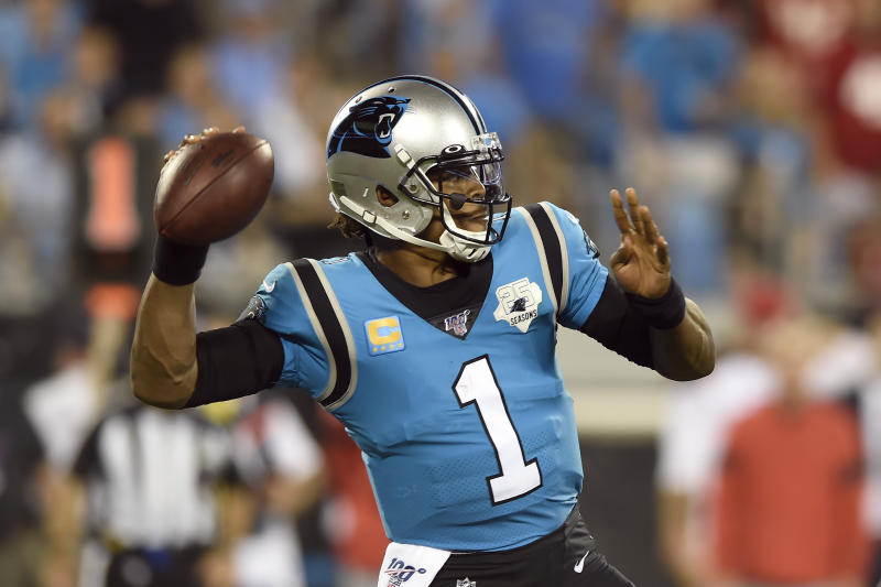 Cam Newton used Instagram to feature his arm and his feet — two areas of concern around the free agent quarterback. (AP Photo/Mike McCarn)