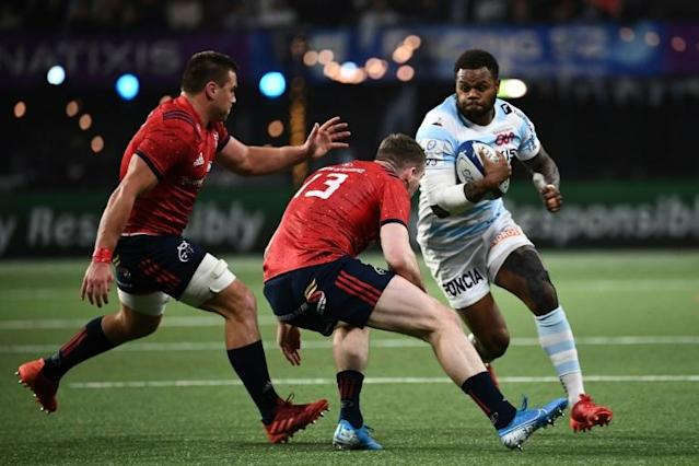 Virimi Vakatawa joined Teddy Thomas and Juan Imhoff on the Racing 92 scoresheet as the French side beat Munster (AFP Photo/Anne-Christine POUJOULAT)