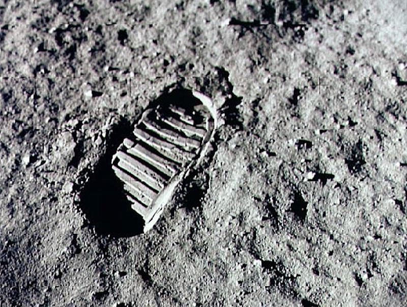 An Apollo 11 astronaut's footprint in the lunar soil. (Photo by NASA/Newsmakers)