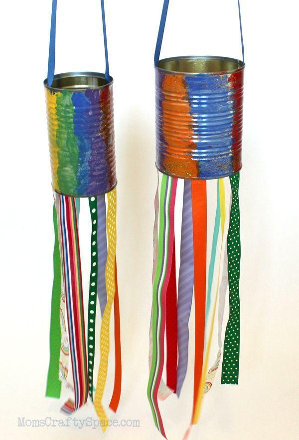 """<p>Do you have some clean recycled cans on hand? Then you can help your party guests make their own tin can windsocks, using acrylic paint, ribbons, and whatever other embellishments you have on hand. </p><p><strong><em><a href=""""https://www.happinessishomemade.net/kids-craft-recycled-tin-can-windsocks/"""" rel=""""nofollow noopener"""" target=""""_blank"""" data-ylk=""""slk:Get the tutorial at Happiness Is Homemade"""" class=""""link rapid-noclick-resp"""">Get the tutorial at Happiness Is Homemade</a>. </em></strong></p><p><a class=""""link rapid-noclick-resp"""" href=""""https://www.amazon.com/60yards-Grosgrain-Ribbon-assortment-randomly/dp/B01M66YMTG?tag=syn-yahoo-20&ascsubtag=%5Bartid%7C10070.g.37055924%5Bsrc%7Cyahoo-us"""" rel=""""nofollow noopener"""" target=""""_blank"""" data-ylk=""""slk:SHOP RIBBON"""">SHOP RIBBON</a></p>"""