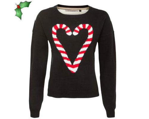 "<a target=""_blank"" href=""http://www.boohoo.com/restofworld/icat/winter-knitwear/knitwear/ruby-reindeer-jumper/invt/azz55562"">New Look Black Candy Cane jumper, £24.99</a>"