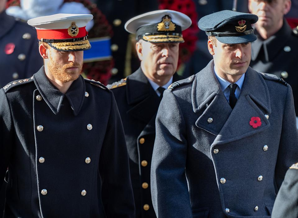 Prince Harry, Prince William and Prince Andrew during the annual Remembrance Sunday memorial at the Cenotaph on November 11, 2018 in London, England