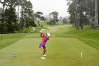 Danielle Kang, tees off on the ninth hole at Lake Merced Golf Club during the final round of the LPGA Mediheal Championship golf tournament Sunday, June 13, 2021, in Daly City, Calif. (AP Photo/Tony Avelar)