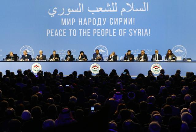 Participants attend a session of the Syrian Congress of National Dialogue in the Black Sea resort of Sochi, Russia January 30, 2018. REUTERS/Sergei Karpukhin