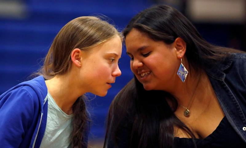 Thunberg with Iron Eyes at an event on the Pine Ridge reservation.