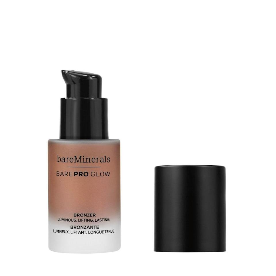 """Liquid bronzers don't get a ton of love in favor of powder formulas, but they're the secret to a truly seamless faux glow. """"I love the classic <a href=""""https://shop-links.co/1713189085022920809"""" rel=""""nofollow noopener"""" target=""""_blank"""" data-ylk=""""slk:bareMinerals bronzers"""" class=""""link rapid-noclick-resp"""">bareMinerals bronzers</a> but my current favorite is the liquid version,"""" says Spickard. """"It's not too warm or orangey, and I love doing a liquid bronzer on a no-makeup day. I just buff it right onto clean skin. I also like to layer this under powder bronzer to make it last all day."""" $30, bareMinerals. <a href=""""https://shop-links.co/1713108700462711585"""" rel=""""nofollow noopener"""" target=""""_blank"""" data-ylk=""""slk:Get it now!"""" class=""""link rapid-noclick-resp"""">Get it now!</a>"""