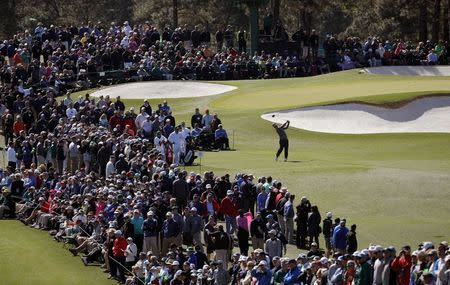 Charley Hoffman of the U.S. hits off the third tee in second round play during the 2017 Masters golf tournament at Augusta National Golf Club in Augusta, Georgia, U.S., April 7, 2017. REUTERS/Mike Segar