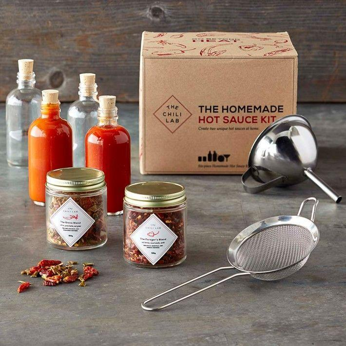 """<p><strong>Williams Sonoma</strong></p><p>williams-sonoma.com</p><p><strong>$49.95</strong></p><p><a href=""""https://go.redirectingat.com?id=74968X1596630&url=https%3A%2F%2Fwww.williams-sonoma.com%2Fproducts%2Fthe-chili-lab-homemade-hot-sauce-kit&sref=https%3A%2F%2Fwww.bestproducts.com%2Flifestyle%2Fg1453%2Ffathers-day-gifts-ideas%2F"""" rel=""""nofollow noopener"""" target=""""_blank"""" data-ylk=""""slk:Shop Now"""" class=""""link rapid-noclick-resp"""">Shop Now</a></p><p>Help Dad kick up the heat in the kitchen by gifting him this DIY <a href=""""https://www.bestproducts.com/eats/food/g597/best-mild-spicy-hot-sauce/"""" rel=""""nofollow noopener"""" target=""""_blank"""" data-ylk=""""slk:hot sauce"""" class=""""link rapid-noclick-resp"""">hot sauce</a> kit. Along with clear instructions, the kit comes with two artisanal blends: A vibrant Forager's Blend with notes of red berries and woodsmoke and a bright Grove Blend with fresh hints of citrus and herbs.</p>"""