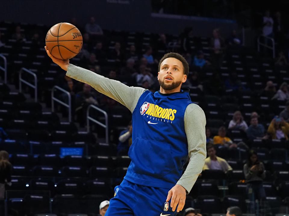 Feb 10, 2020; San Francisco, California, USA; Golden State Warriors guard Stephen Curry (30) warms up before the game against the Miami Heat at Chase Center. Mandatory Credit: Kelley L Cox-USA TODAY Sports