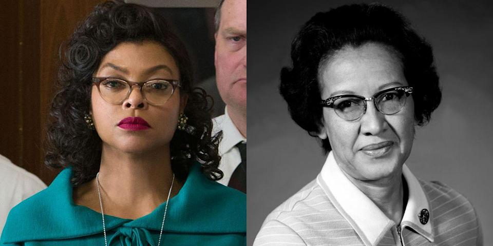 """<p>Taraji P. Henson played the <a href=""""http://www.marieclaire.com/culture/g5026/female-discoveries-credited-to-men/"""" rel=""""nofollow noopener"""" target=""""_blank"""" data-ylk=""""slk:iconic yet often forgotten"""" class=""""link rapid-noclick-resp"""">iconic yet often forgotten</a> NASA mathematician Katherine Johnson in the 2017 film <em>Hidden Figures. </em></p>"""