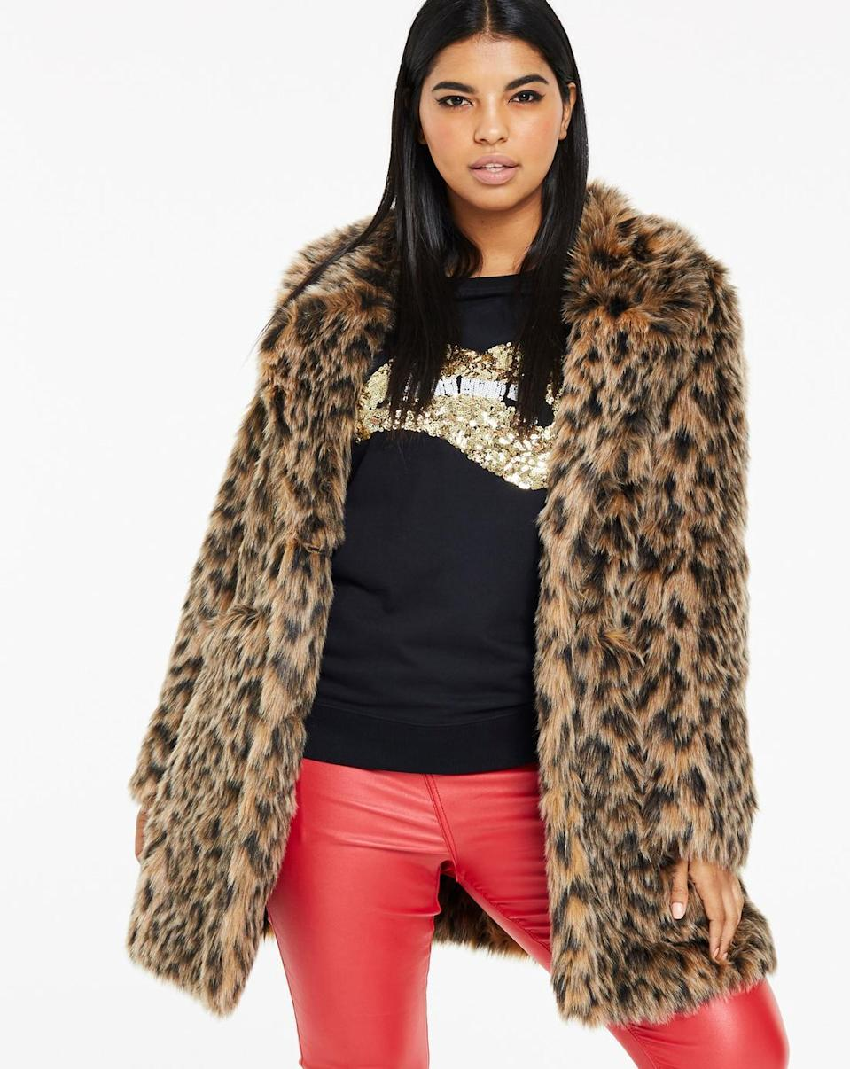 "<p>A faux-fur leopard jacket is an easy, fun way to spruce up anyone's winter wardrobe.<br><a href=""https://fave.co/2QOUGSC"" rel=""nofollow noopener"" target=""_blank"" data-ylk=""slk:Shop it:"" class=""link rapid-noclick-resp""><strong>Shop it:</strong> </a>Simply Be Leopard-Fur-Print Coat, $90 (was $158), <a href=""https://fave.co/2QOUGSC"" rel=""nofollow noopener"" target=""_blank"" data-ylk=""slk:simplybe.com"" class=""link rapid-noclick-resp"">simplybe.com </a> </p>"