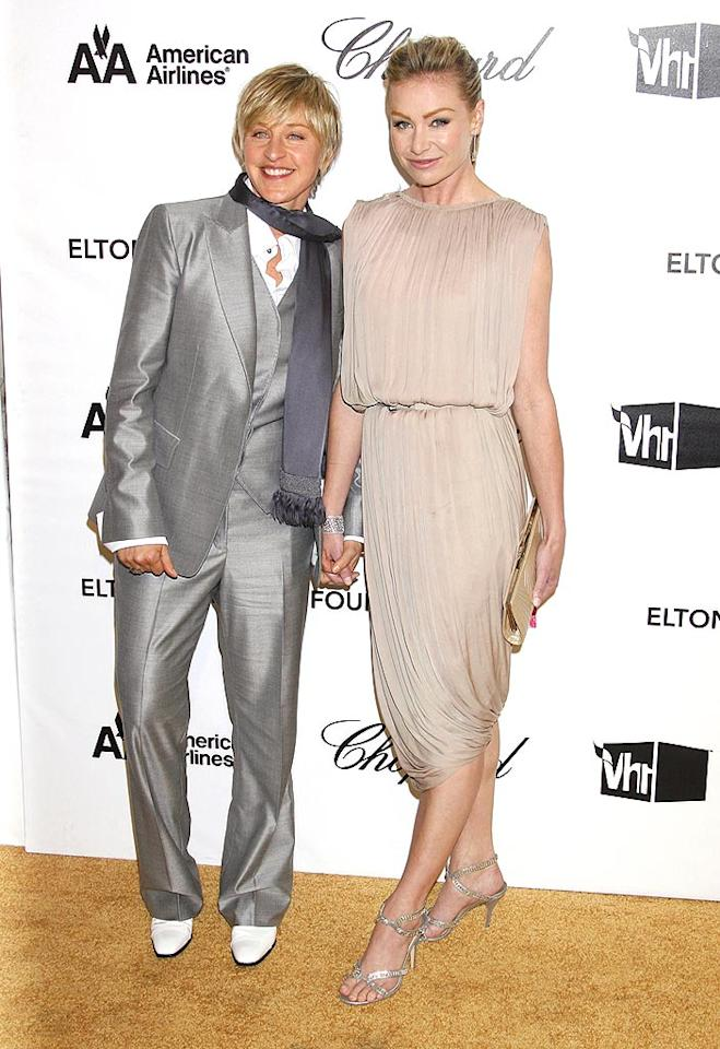 """Ellen DeGeneres announced her engagement to Portia de Rossi shortly after the California Supreme Court overturned a ban on gay marriage in May. The comedian, who recently won the Emmy for best talk show host, joked that she would put her statuette on top of their wedding cake. Jeffrey Mayer/<a href=""""http://www.wireimage.com"""" target=""""new"""">WireImage.com</a> - February 24, 2008"""