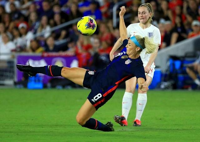 USA midfielder Julie Ertz blocks a pass during her team's 2-0 defeat of England in the SheBelieves Cup friendly tournament (AFP Photo/Mike Ehrmann)