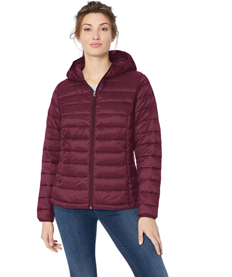 Amazon Essentials Women's Lightweight Water-Resistant Packable Hooded Puffer Jacket is on sale during Prime Day 2020.