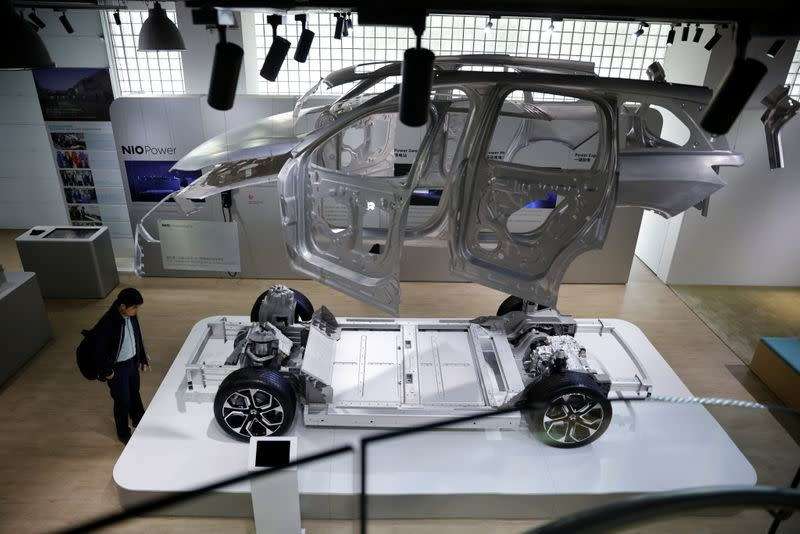 A model of a Nio electric car is displayed at a Nio office in Shanghai