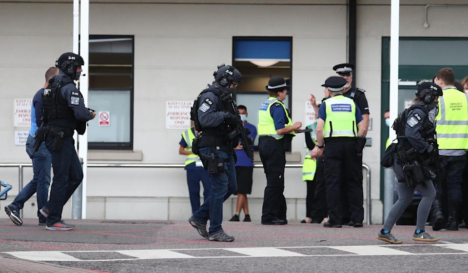Counter Terrorist Specialist Firearms Officers at the Royal Sussex County Hospital in Brighton, a man has been arrested on suspicion of attempted murder after a member of hospital staff was stabbed, according to police.