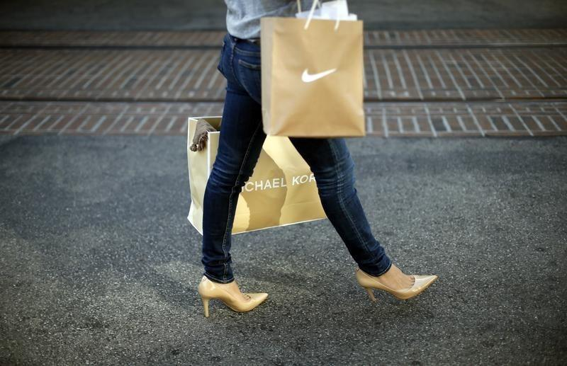 Woman shops at The Grove mall in Los Angeles